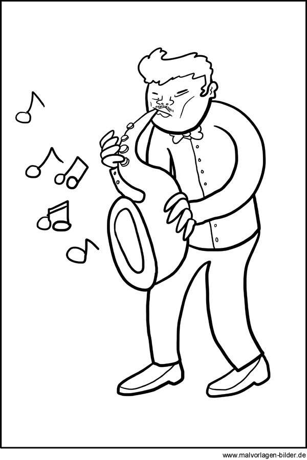 Ausmalbilder Musik  Musiker mit einem Saxophon Gratis Malvorlage und Ausmalbild