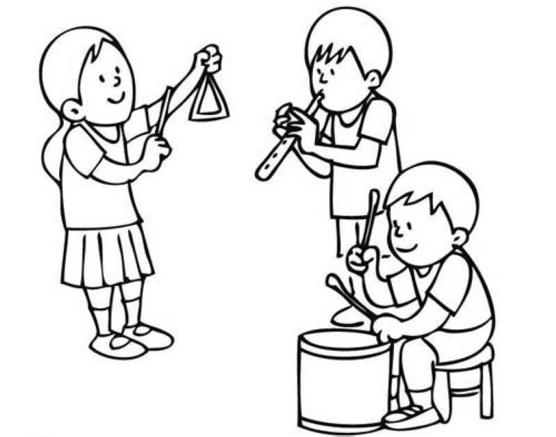 Ausmalbilder Musik  Kostenlose Malvorlage Musik Kinder in der Musikschule zum