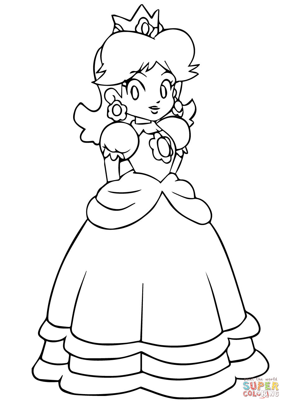 Ausmalbilder Peach  Mario Bros Peach Coloring Pages Coloring Home
