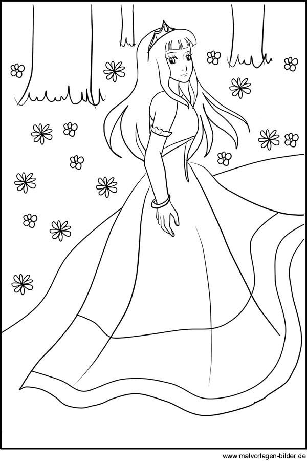 Ausmalbilder Prinzessin Kostenlos  Gratis Ausmalbilder von einer Prinzessin