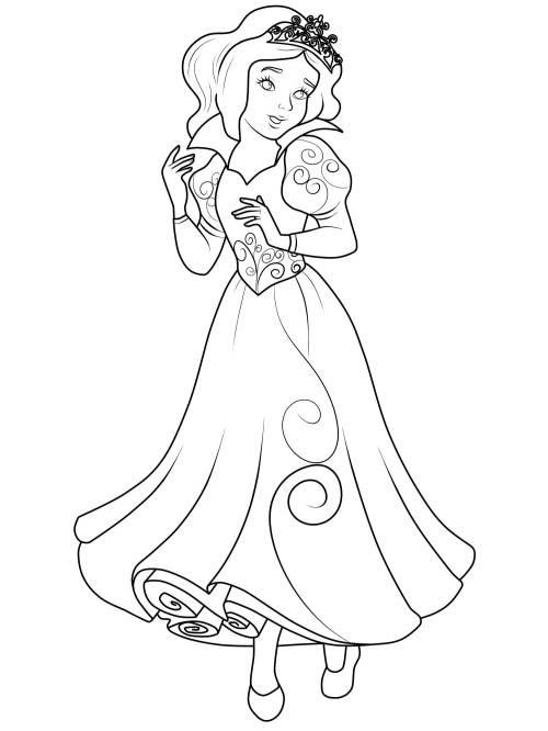 Ausmalbilder Prinzessin Kostenlos  Kostenlose Malvorlage Prinzessin Prinzessin zum Ausmalen