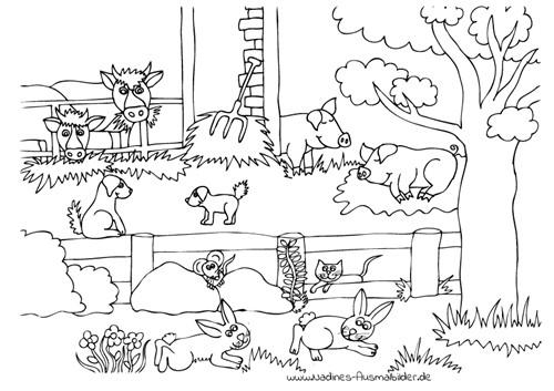 Ausmalbilder Tiere Bauernhof  Bauernhof mit Hoftieren Nadines Ausmalbilder