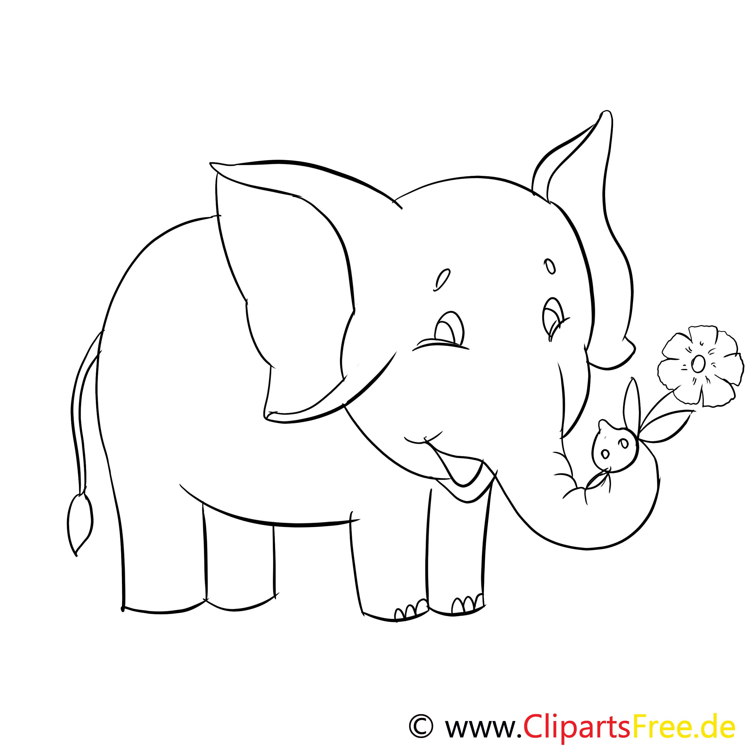 Ausmalbilder Tiere Zoo  Ausmalbilder Lustige Tiere im Zoo Elefant