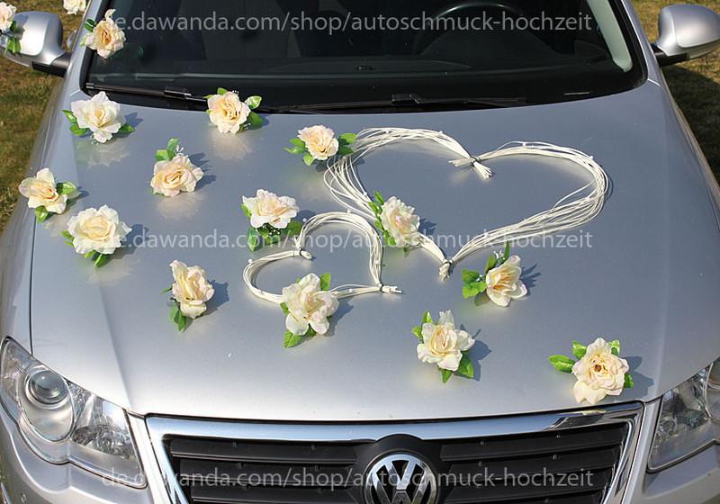 Autoschmuck Hochzeit  Hochzeitsdeko Autoschmuck Hochzeit LEMON Rosen und