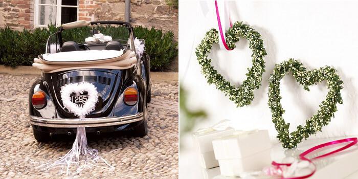 Autoschmuck Hochzeit  Autoschmuck zur Hochzeit mit Herz