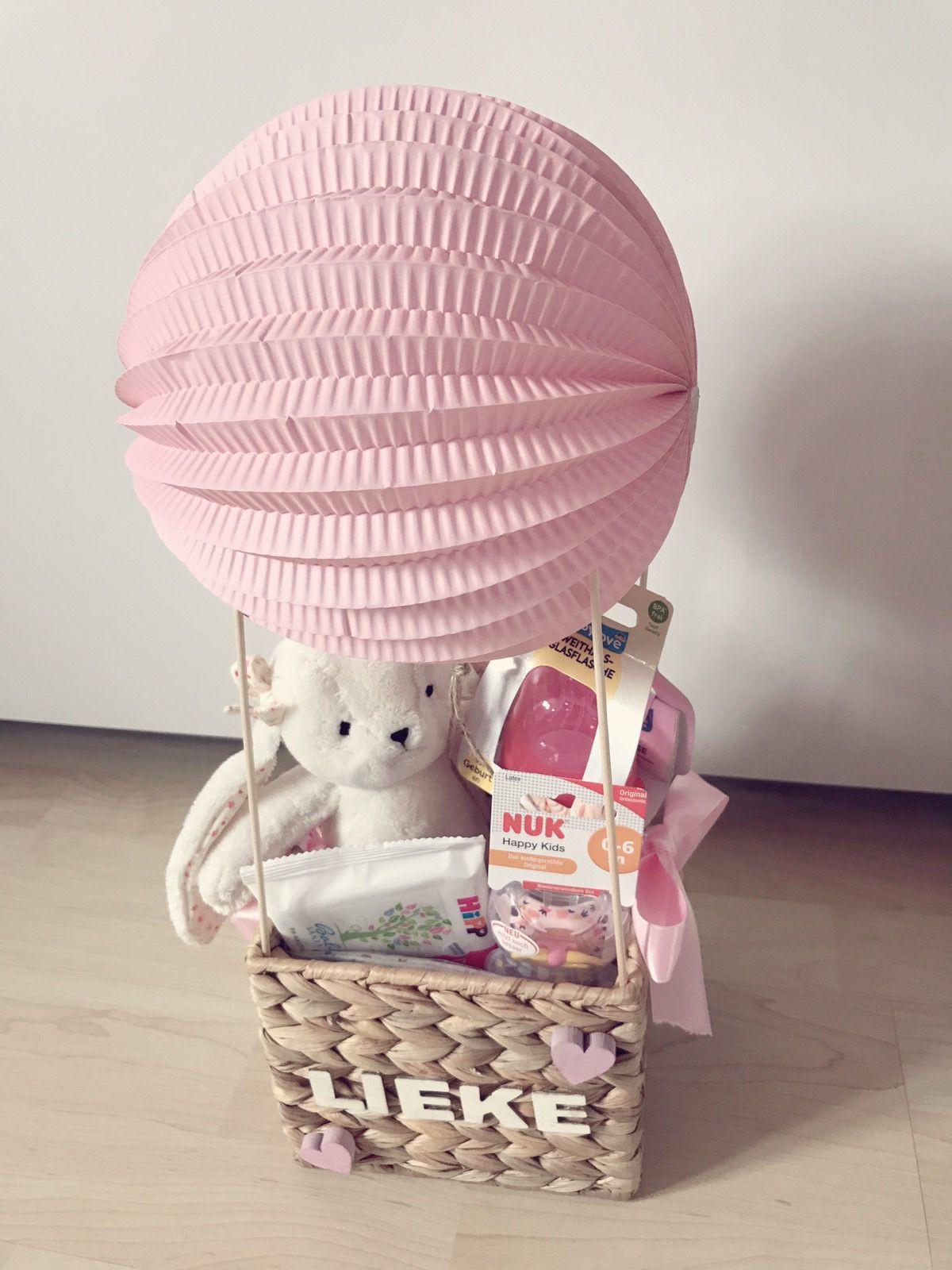 Baby Geschenke Basteln  Geschenk zur Geburt heißluftballon baby geschenk mädchen