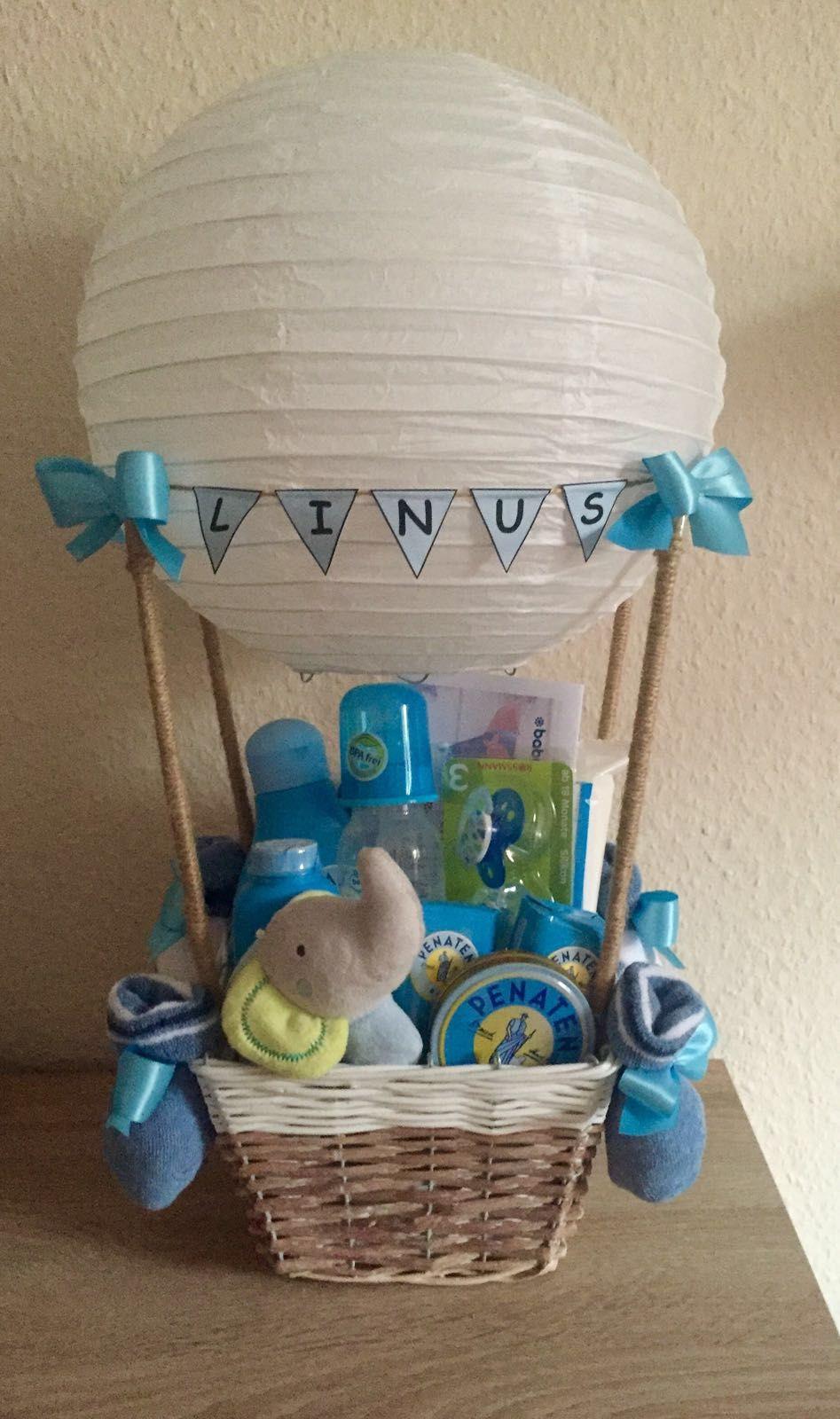 Baby Geschenke Basteln  Geschenk zur Geburt Heißluftballon
