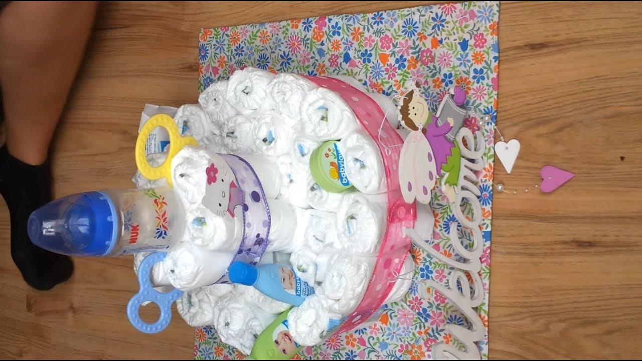 Baby Geschenke Basteln  Geschenke zur Geburt Windel Torte basteln Basteln von