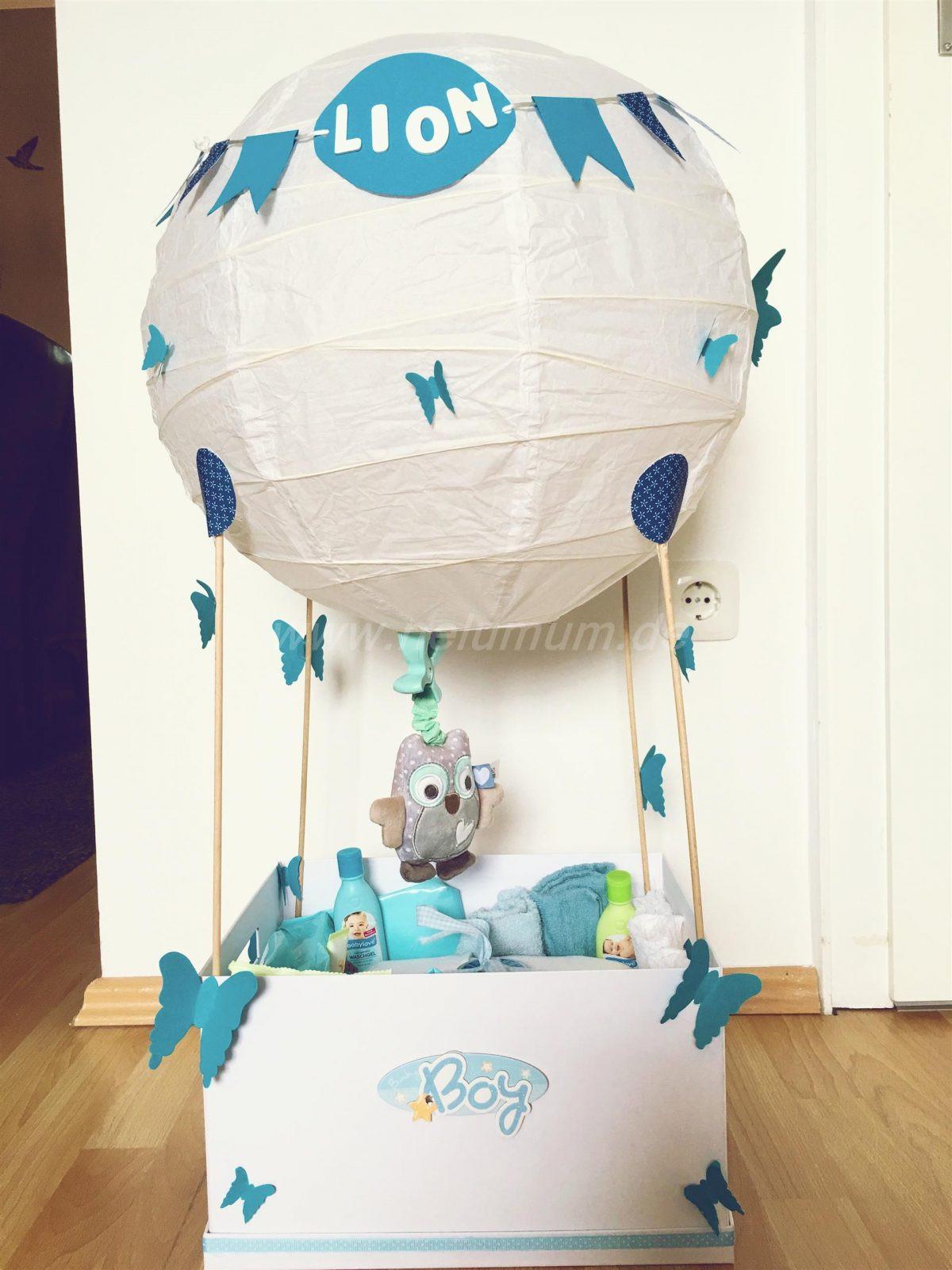 Baby Geschenke Basteln  Heißluftballon zur Geburt NeLuMum