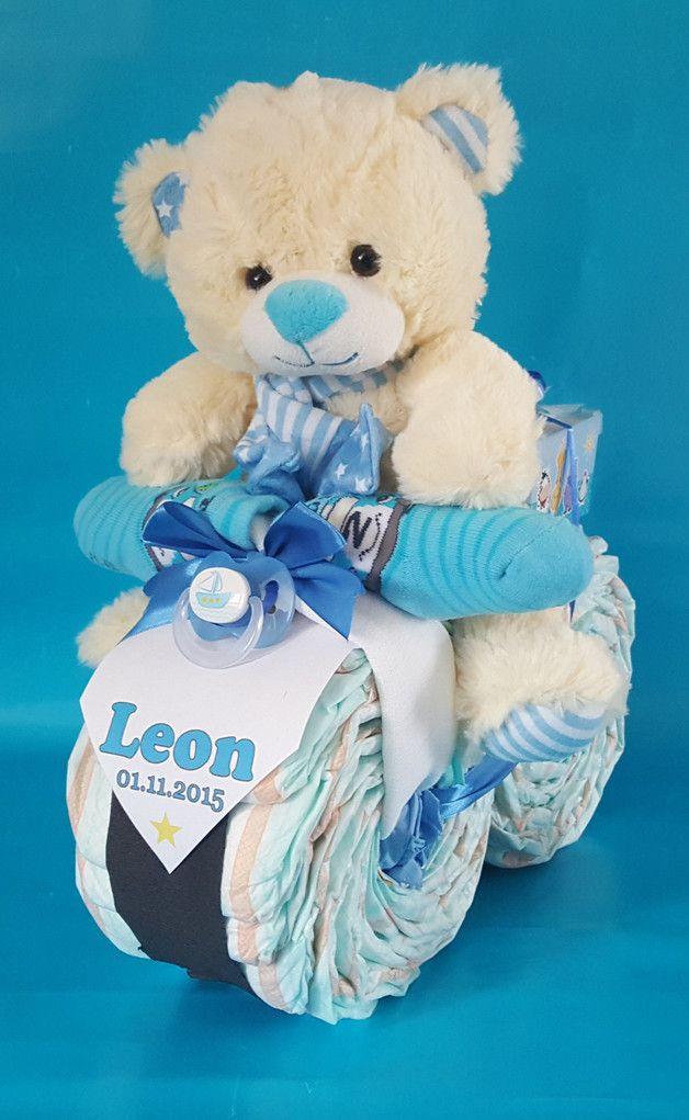 Baby Geschenke Basteln  XL Windel Motorrad in Blau ★♥ Geschenk Geburt