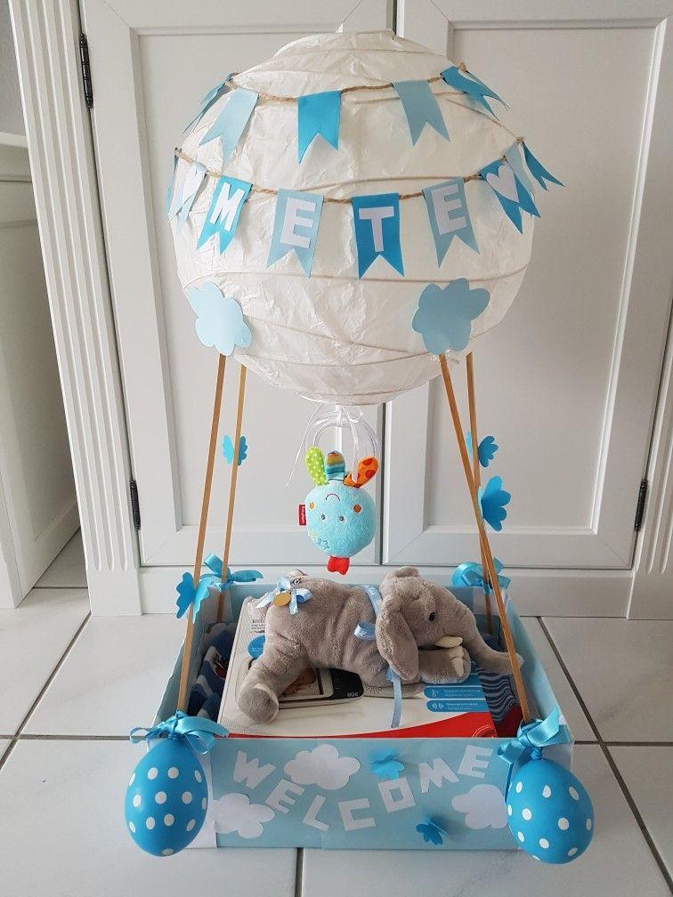 Baby Geschenke Basteln  Heißluftballon zur Geburt heißluftballon geburtsgeschenk