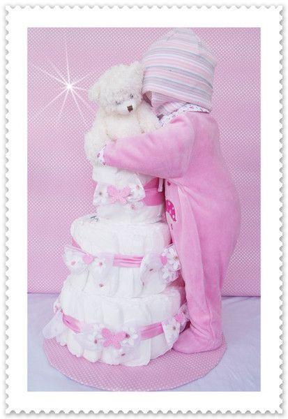Baby Geschenke Mädchen  XXL Windeltorte Baby Mädchen kompl Outfit rosa von