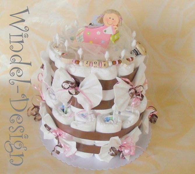 Baby Geschenke Mädchen  Windeltorte in rosa braun für Mädchen Windel Design