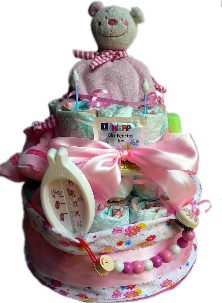 Baby Geschenke Mädchen  Hochwertige XXL Windeltorte für Mädchen rosa Geschenke zur