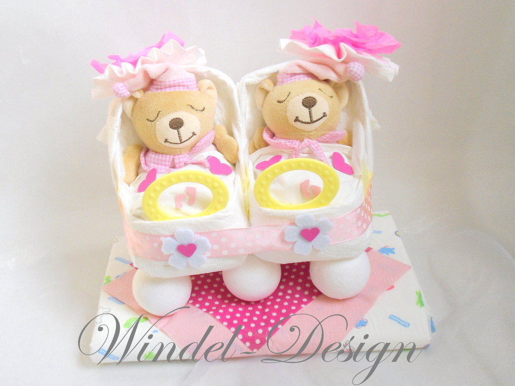 Baby Geschenke Mädchen  Windelwagen Zwillinge Mädchen Windel Design Windeltorte