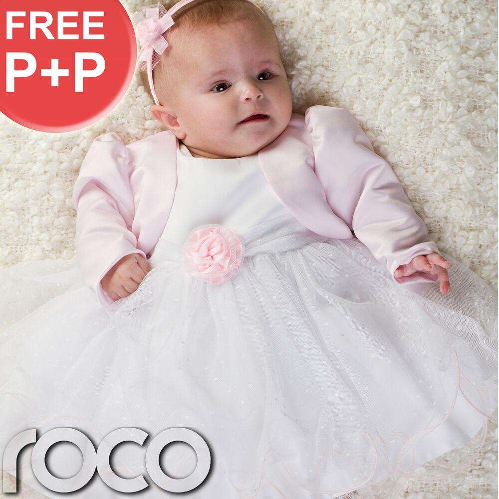 Baby Kleid Hochzeit  Baby Mädchen Kleid Weiß Rosa Jacke Bolero Hochzeit
