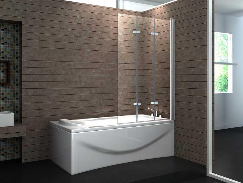 Badewanne Duschwand  Duschwand badewanne glas 3 tlg faltwand mit verchromt