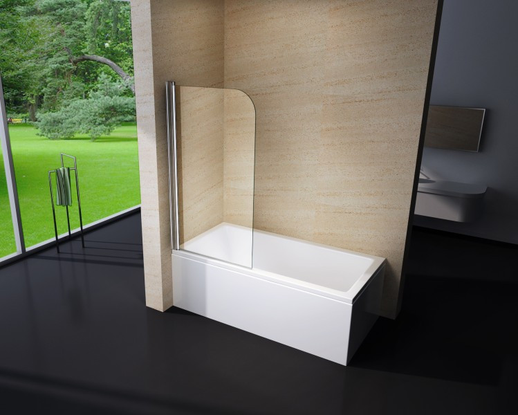 Badewanne Duschwand  Duschabtrennung Duschwand Badewanne Nano Echtglas EX201