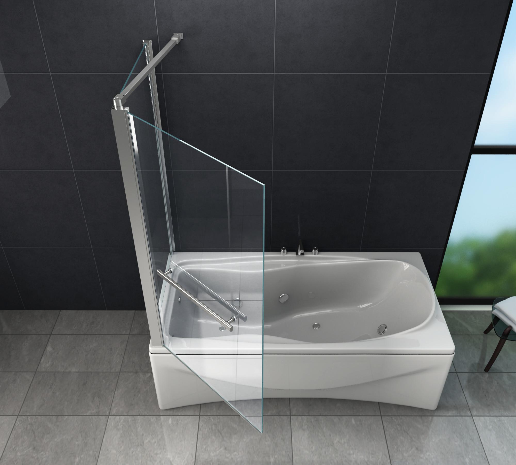 Badewanne Duschwand  Eck Duschtrennwand UNIONO 70 Badewanne Glasdeals