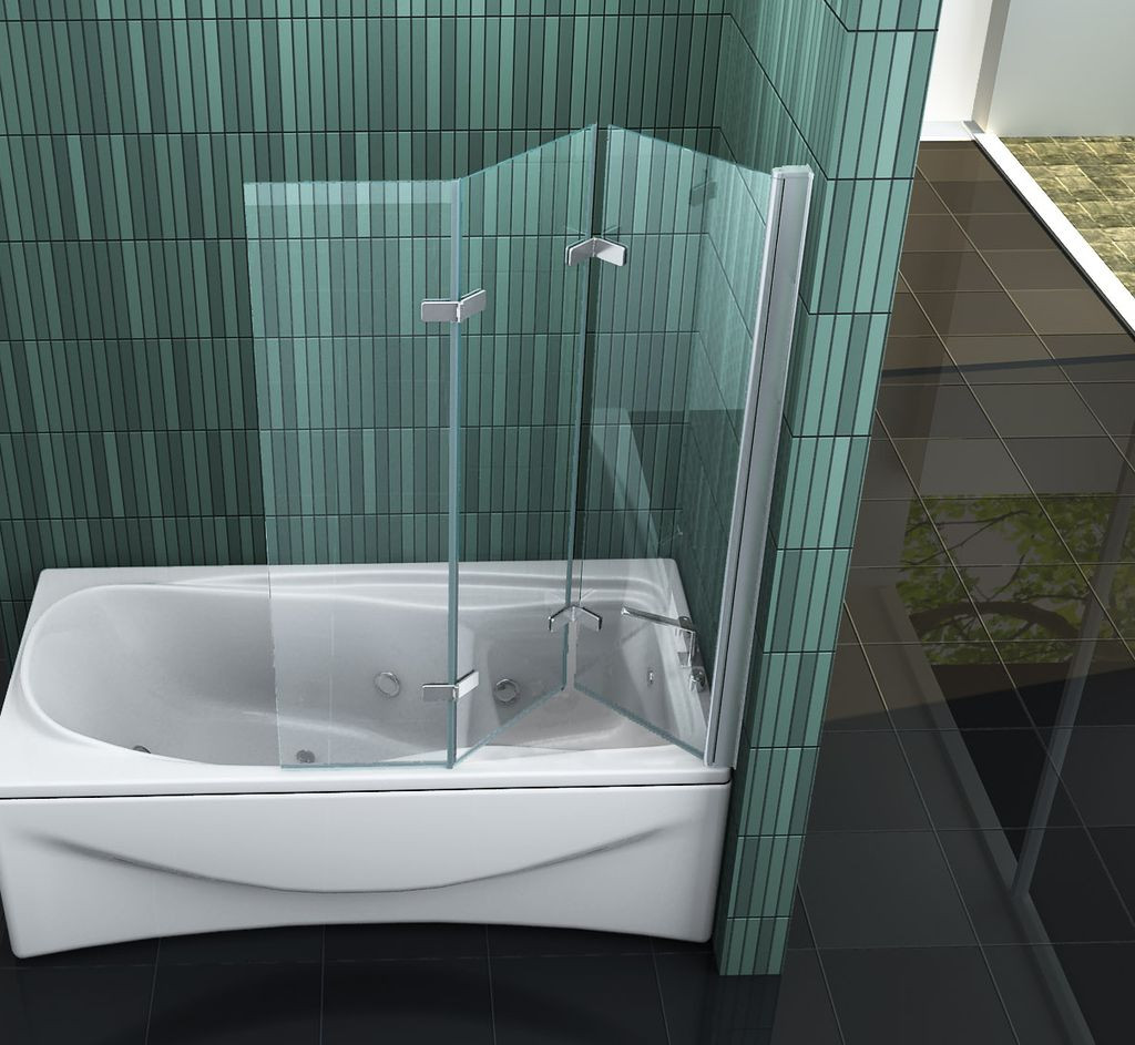 Badewanne Duschwand  VARIO 130 x 140 Badewannen Faltwand Duschwand