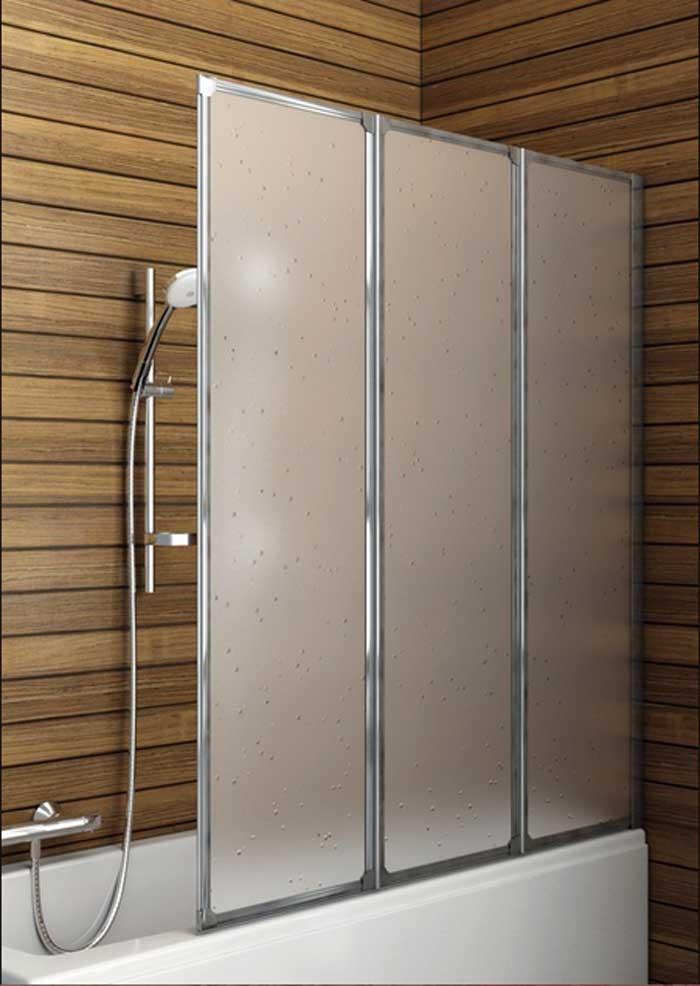Badewanne Duschwand  Badewanne duschwand kunststoff 3 telig mit matt chromprofile
