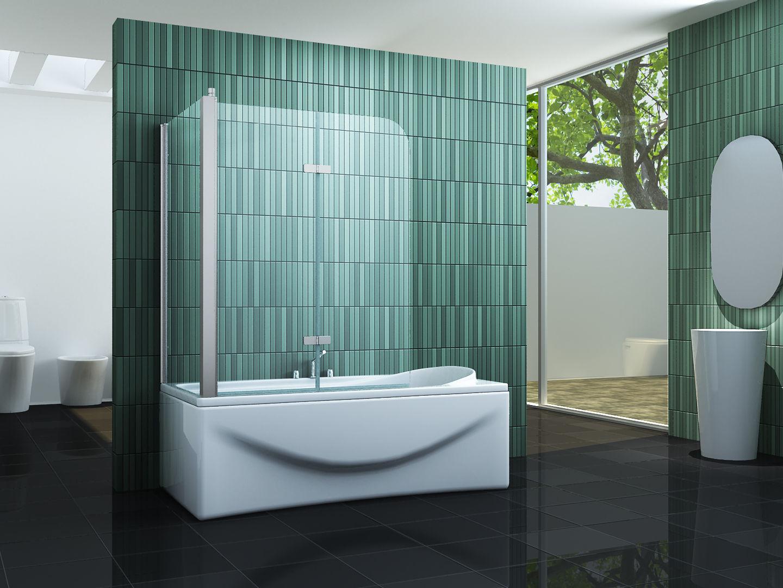 Badewanne Duschwand  PERINTO 70 75 80 120x140 Badewannen Faltwand Duschwand