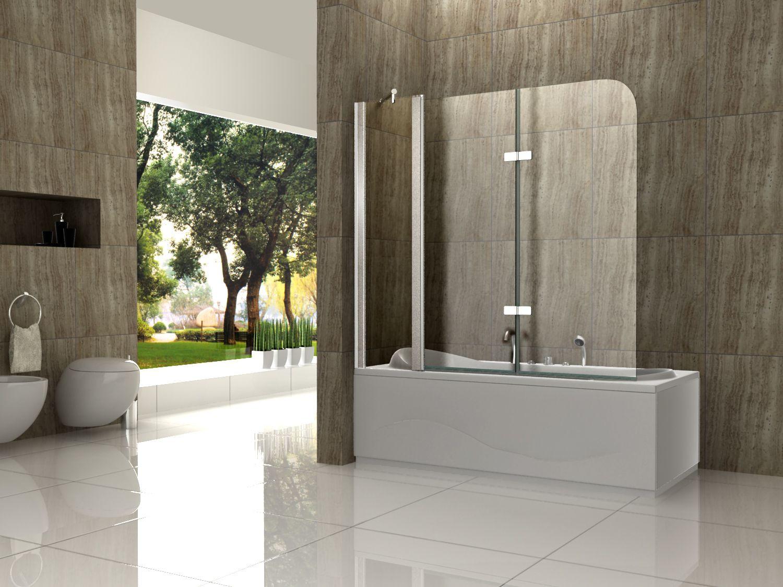 Badewanne Duschwand  3tlg 150 x 140 Badewannen Faltwand Duschwand