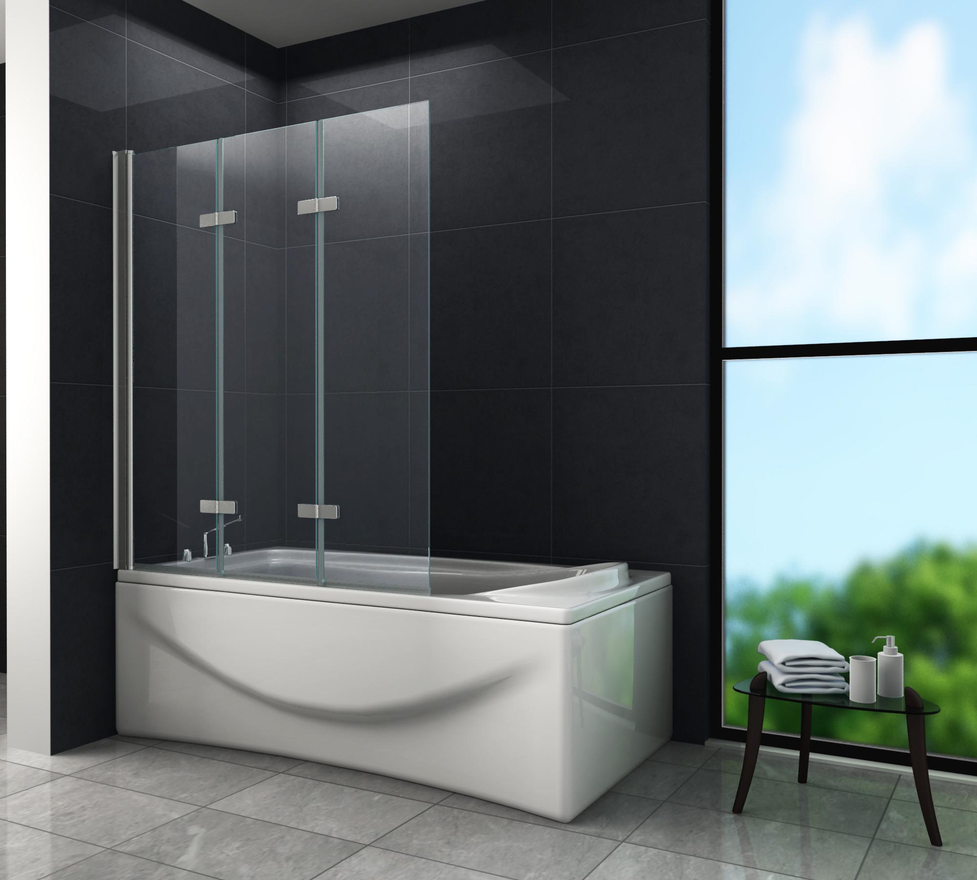 Badewanne Duschwand  Duschtrennwand VALVE 130 x 140 Badewanne Glasdeals
