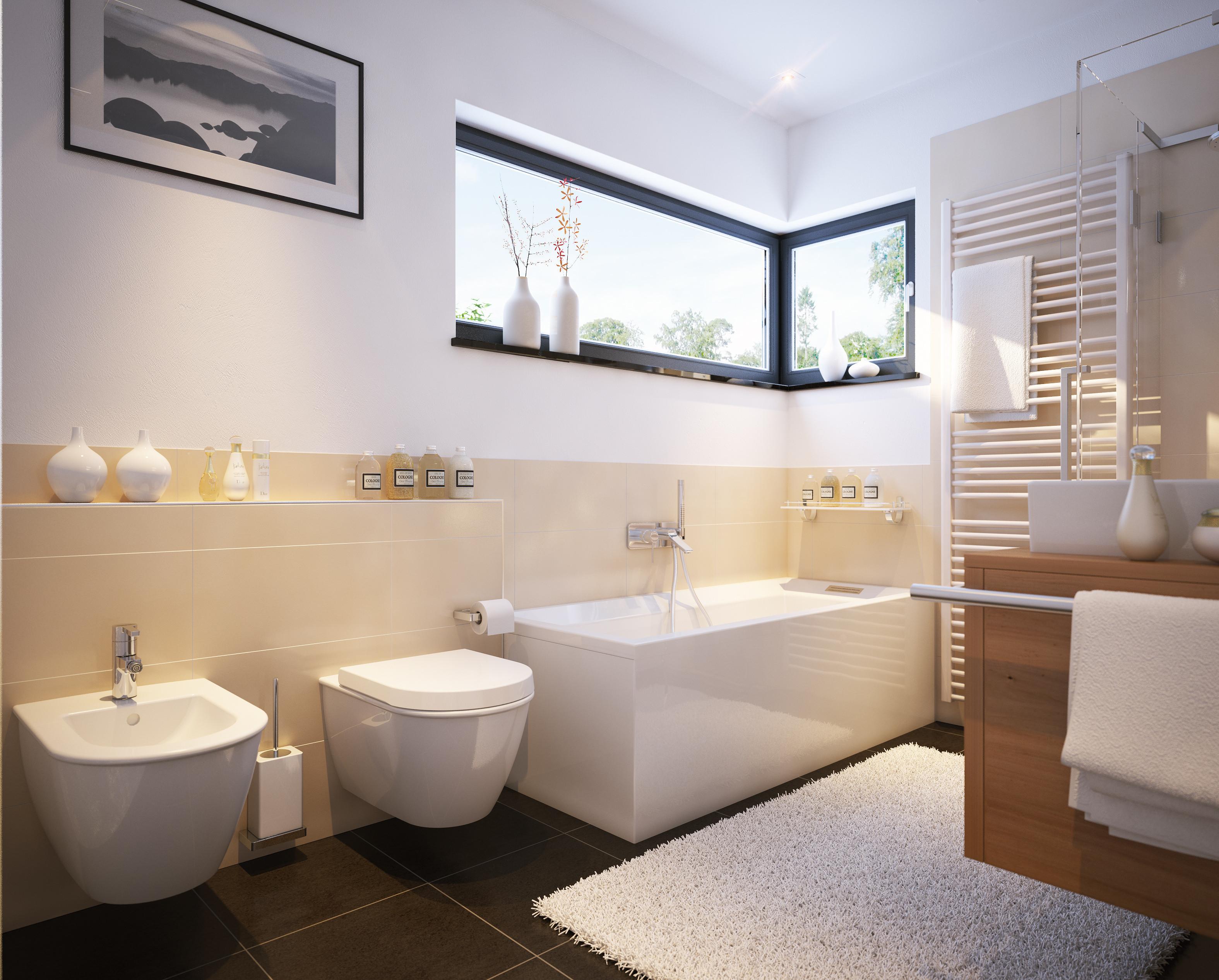 Badezimmer Bilder  Moderne Badezimmer mit Fliesen und Fenster