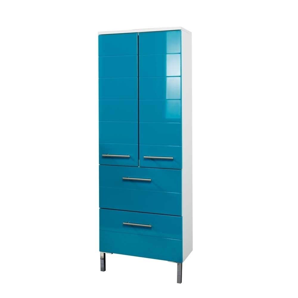 Badezimmer Schrank  Schrank Bluevino für Ihr Badezimmer in Türkis Hochglanz