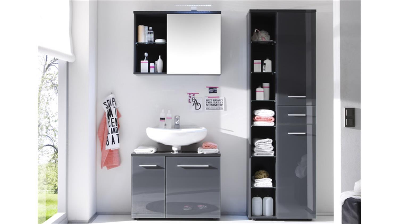 Badezimmer Schrank  Hochschrank GREY Badezimmer Bad Schrank grau glänzend