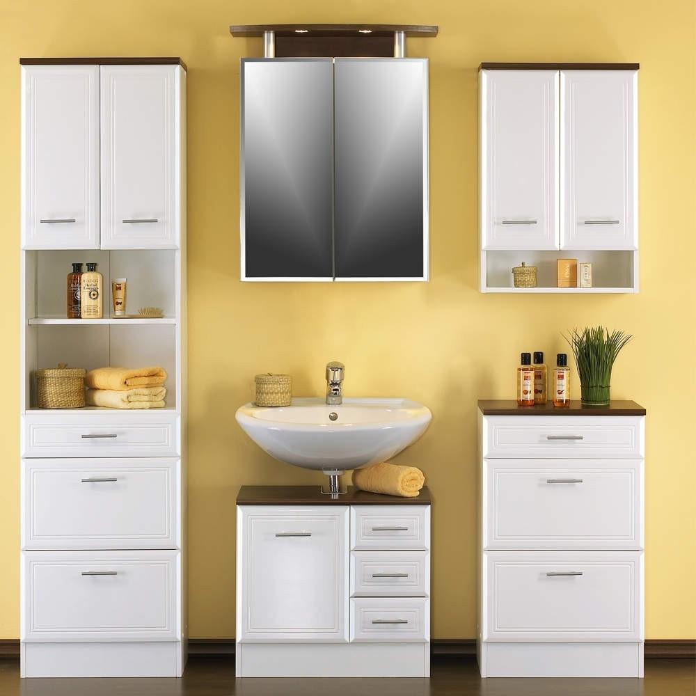 Badezimmer Schrank  Badezimmerschrank Nina in Hochglanz Weiß mit drei Schubladen