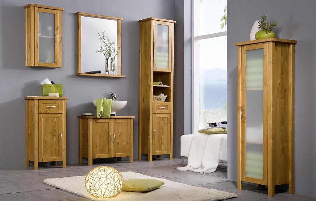 Badschrank Holz  Massivholz Badezimmerschrank Badschrank Hochschrank holz