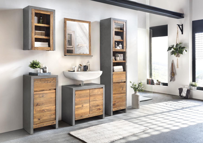 Badschrank Holz  Badmöbel Set Burnham 5teilig Pinie Beton Optik Wandschrank