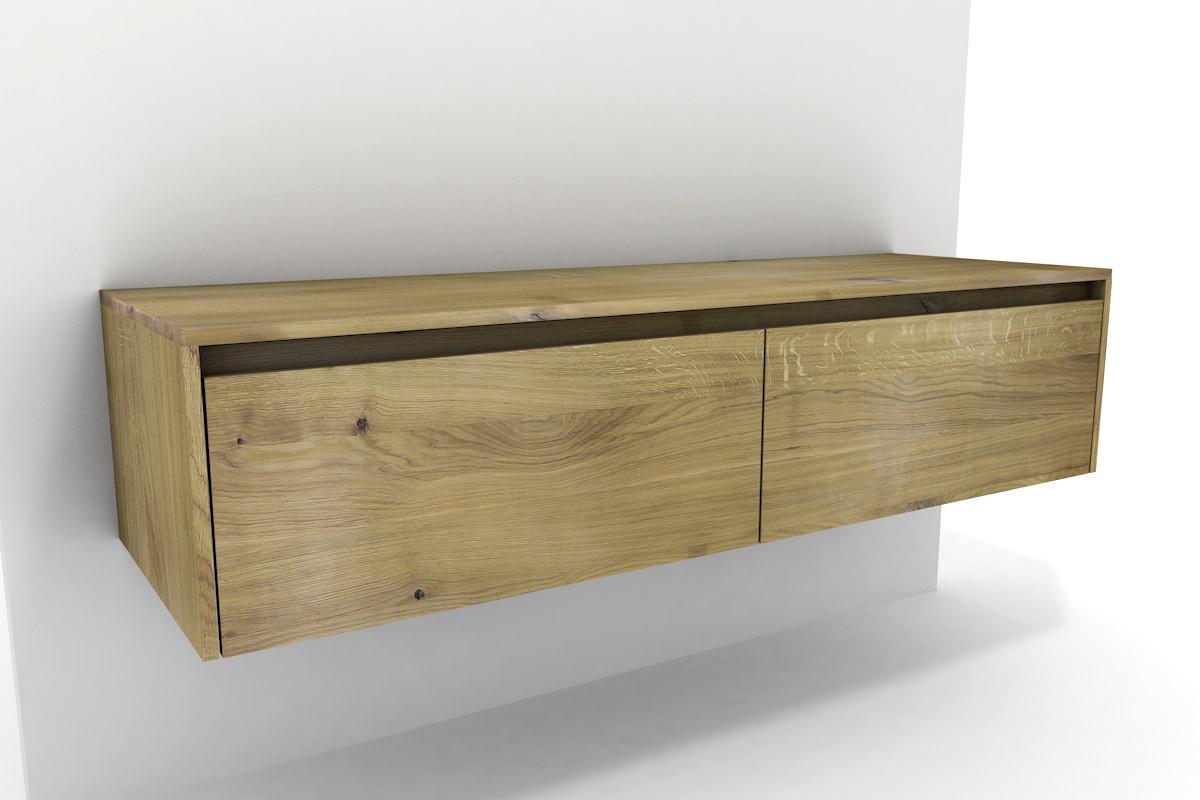 Badschrank Holz  Badschrank Holz Eiche massiv 2 Schubladen