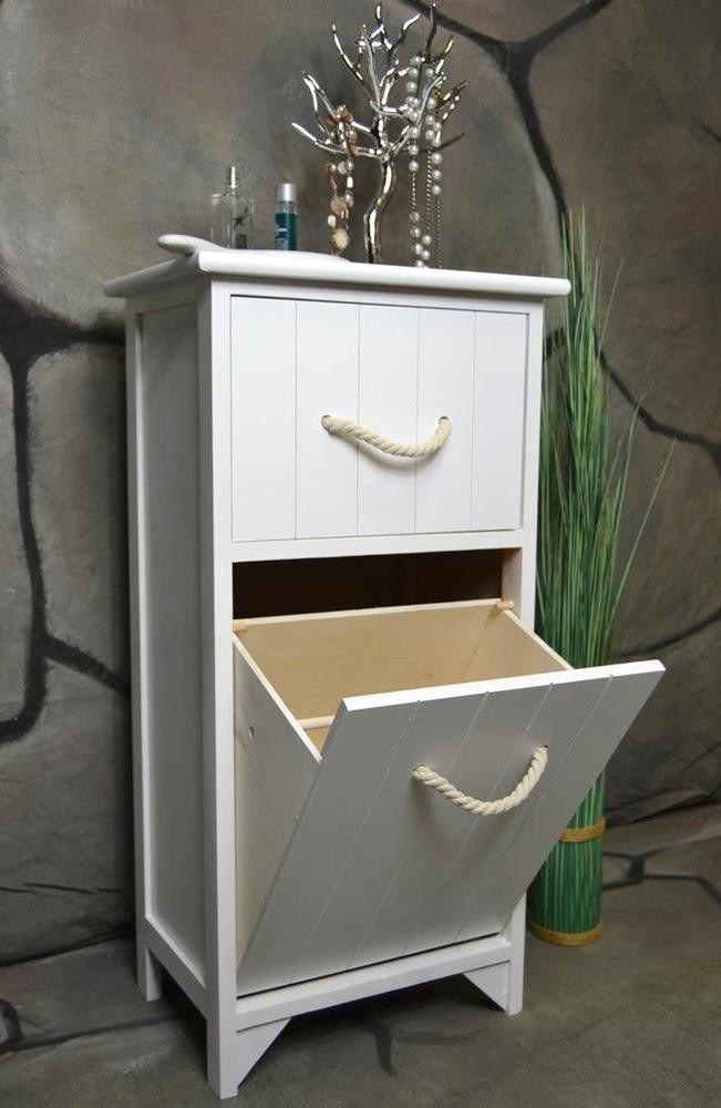 Badschrank Holz  Badschrank Wäschesammler Wäschekorb Wäschetruhe Weiß Holz