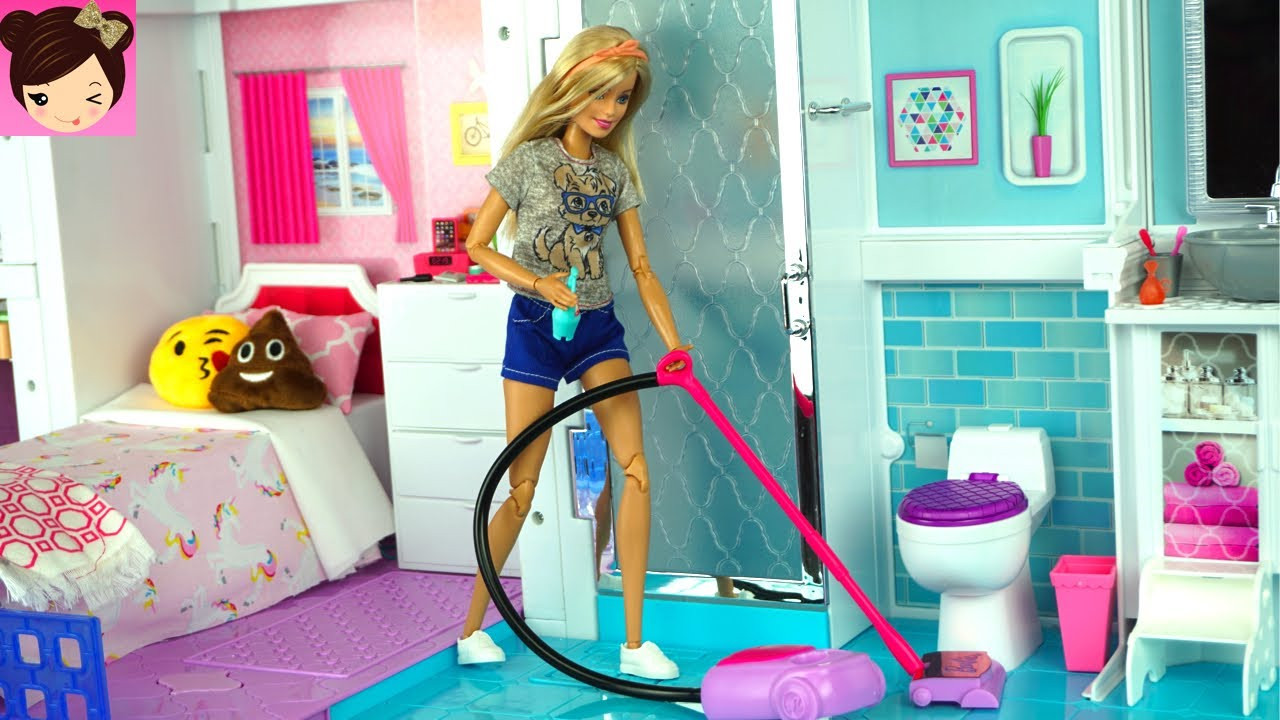 Barbie Haus  Barbie House Cleaning Morning Routine Grocery Store
