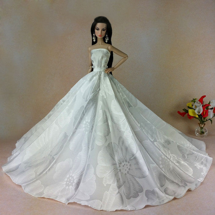 Barbie Hochzeit  White Fashion Royalty Princess Party Dress&Wedding Clothes