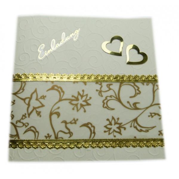 Bastelideen Goldene Hochzeit  Einladungskarte goldene Hochzeit