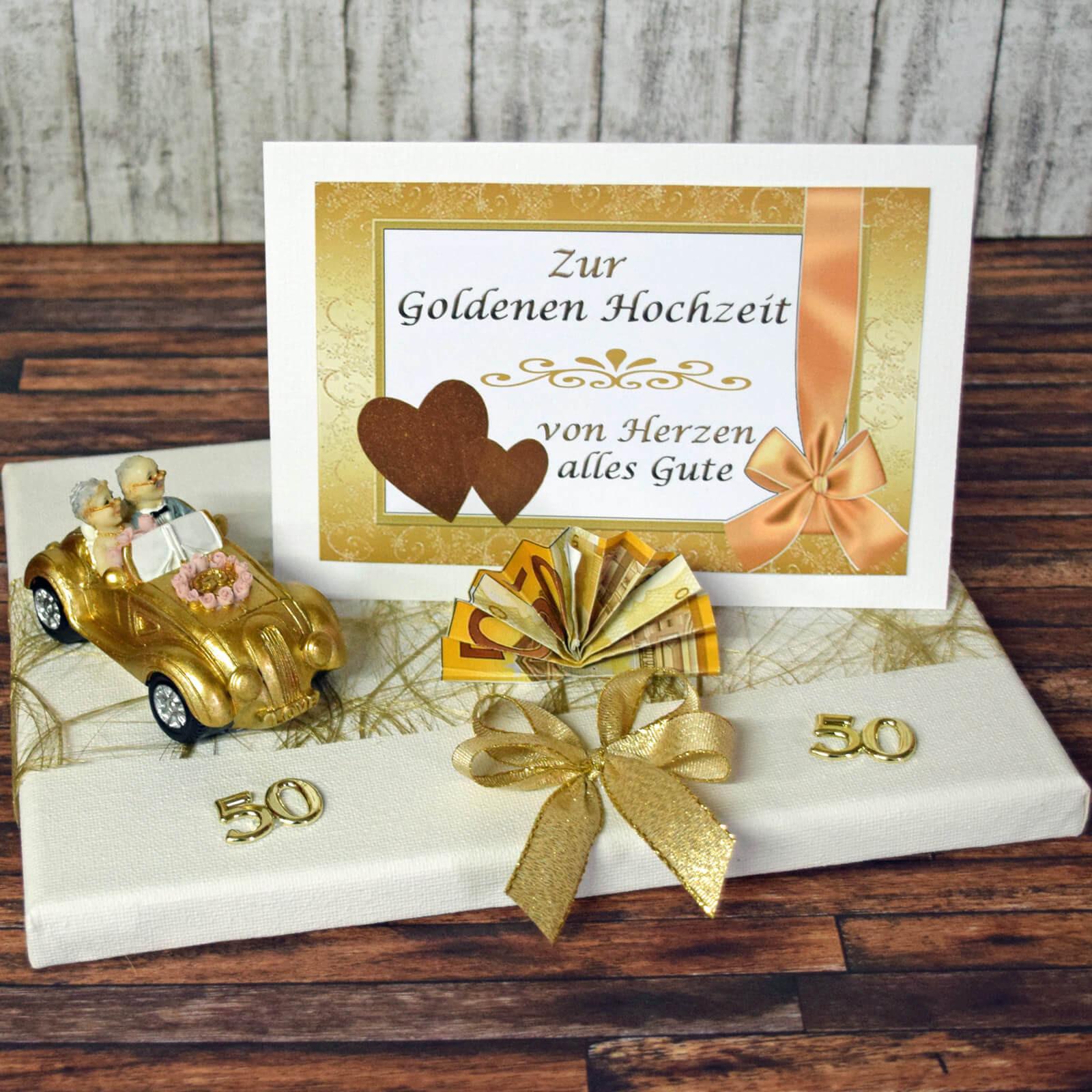 Bastelideen Goldene Hochzeit  Geldgeschenk zur goldenen Hochzeit Goldpaar im Auto