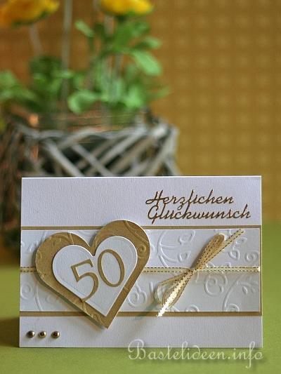 Bastelideen Goldene Hochzeit  Grusskarte zur Goldenen Hochzeit