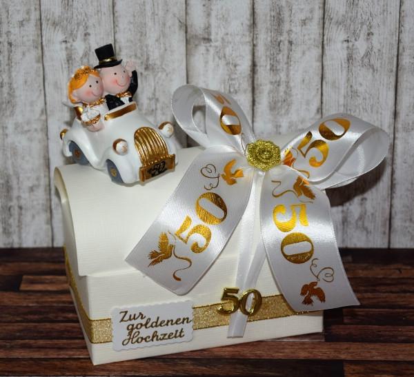 Bastelideen Goldene Hochzeit  Geldgeschenk zur goldenen Hochzeit Geschenkbox mit Auto