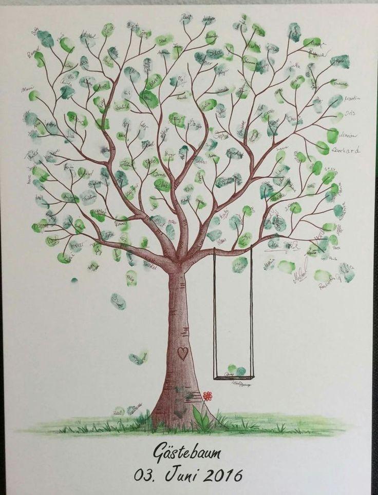 Baum Zur Hochzeit  Wedding Tree Fingerabdruck Baum Hochzeit Geschenk Taufe
