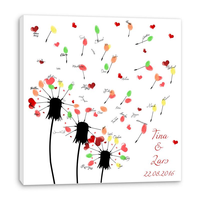 Baum Zur Hochzeit  Fingerabdruck Baum auf Leinwand ♥ Hochzeitsspiel