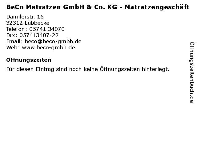 Beco Matratzen  Öffnungszeiten BeCo Matratzen GmbH & Co KG