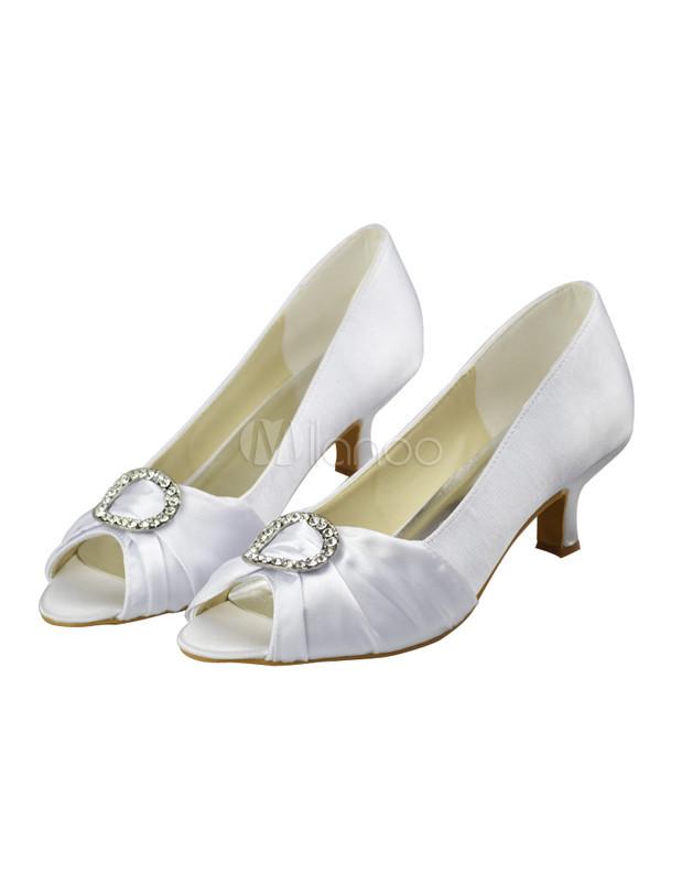 Bequeme Pumps Hochzeit  Bequeme Damen Peeptoe Pumps mit Kunstdiamanten für