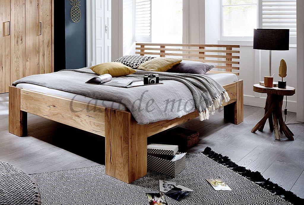 Bett 200x220  Bett 200x220 Kopfteil mit 6 Leisten rustikale Wildeiche