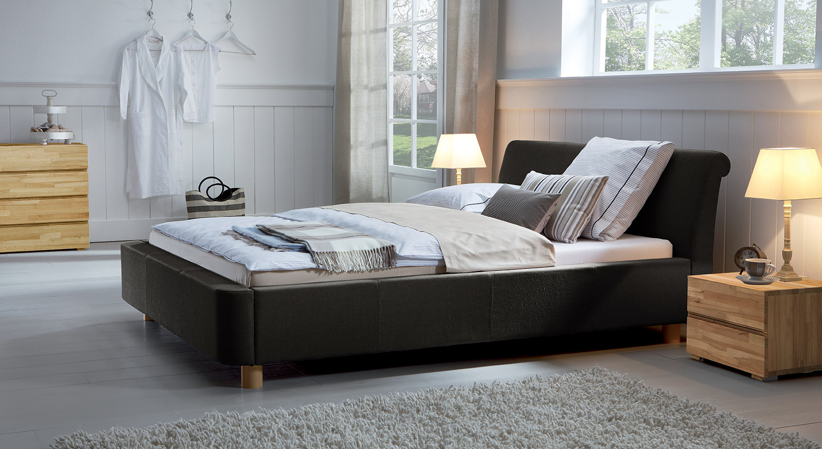 Bett 200x220  Stoffbett als Doppelbett z B in 200x220 erhältlich Andorra