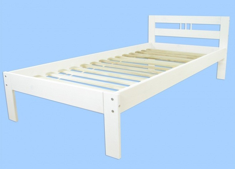 Bett 80x200  60 64 08 W Bett Einzelbett Kiefer massiv weiss 80x200 cm