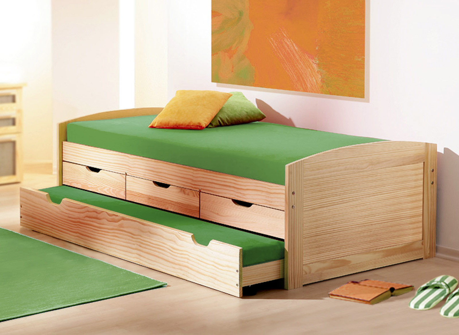 Bett 80x200  Ausziehbett in 90x200 cm aus Massivholz Kinderbett Ben